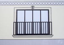 Zeichnen eines Fensters mit einem Geländer Stockbilder