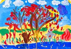 Zeichnen eines Hasen und der Bäume Stockfoto