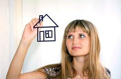 Zeichnen eines Hauses Lizenzfreie Stockfotos