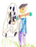Zeichnen eines jungen Künstlers Scarecrow nahe dem mehrstöckigen Gebäude, den Bleistiften und den Markierungen stockfotografie