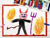 Zeichnen: furchtsamer Teufel mit Heugabel lizenzfreies stockbild
