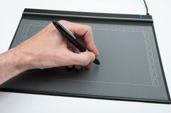 Zeichnen mit Tablette Stockfotos