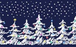 Zeichnen Sie das Kind-` s, das fröhliches Weihnachtsbaummuster mit Schnee zeichnet Hand, die grüne Farbe der Pastellkreide malt vektor abbildung