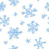 Zeichnen Sie das Kind-` s, das Schneeflockenmuster der frohen Weihnachten auf Weiß zeichnet lizenzfreie abbildung