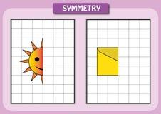 Zeichnen Sie die andere Hälfte von jedem symmetrische Bilder Lizenzfreie Stockbilder