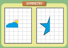 Zeichnen Sie die andere Hälfte von jedem symmetrische Bilder Stockfotografie