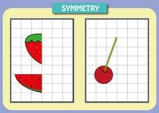 Zeichnen Sie die andere Hälfte von jedem symmetrische Bilder Stockfotos