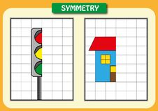 Zeichnen Sie die andere Hälfte von jedem symmetrische Bilder Lizenzfreies Stockbild