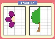 Zeichnen Sie die andere Hälfte von jedem symmetrische Bilder Lizenzfreie Stockfotos