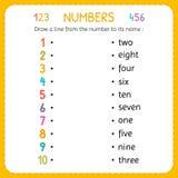 Zeichnen Sie eine Linie von der Zahl zu seinem Namen Zahlen für Kinder Arbeitsblatt für Kindergarten und Vorschule Ausbildung, zu stock abbildung
