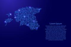 Zeichnen Sie Estland von Druckbrett, vom Chip und von der Radiokomponente mit Querstation auf Stockfotografie