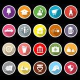 Zeichnen Sie flache Ikonen des Zeichens und des Symbols mit langem Schatten auf Lizenzfreie Stockfotos