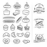 Zeichnen Sie Ikonen des Brotes und anderer Produkte, von denen Sie ein kühles Weinleselogo für Lebensmittelgeschäfte, Bäckereien, vektor abbildung