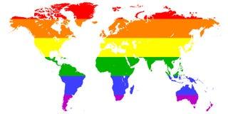 Zeichnen Sie Schattenbild der Kontinente von Erde gemalt in den Farben der Flagge des Regenbogens LGBT, LGBT-Vektor-Farbhintergru Stockfoto