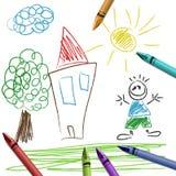 Zeichnen Sie Set mit Kindzeichnung Lizenzfreies Stockfoto