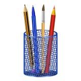 Zeichnen Sie Stiftquaste in einem Glas an, das auf weißer Hintergrundvektorillustration lokalisiert wird Stockbild