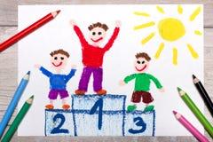 Zeichnen: Sieger auf dem Podium lizenzfreies stockbild