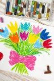 Zeichnen - Tulpenblumenstrauß Stockbild