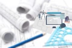 Zeichnen und verschiedene Hilfsmittel Lizenzfreie Stockfotos