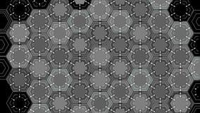 Zeichnende abstrakte Hexagone auf einem schwarzen Hintergrund, schöne Animation 3d 4K lizenzfreie abbildung