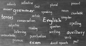 Zeichnende englische Wörter auf Tafel lizenzfreies stockfoto