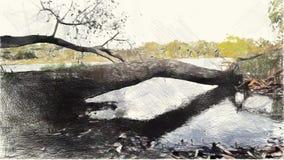 Zeichnende Farbe der Kunst des Landschaftshintergrundes stock abbildung
