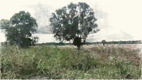 Zeichnende Farbe der Kunst des Landschaftshintergrundes lizenzfreie abbildung