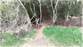 Zeichnende Farbe der Kunst des Landschaftshintergrundes vektor abbildung