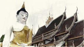 Zeichnende Farbe der Kunst von Buddha-Statue und -tempel stock abbildung