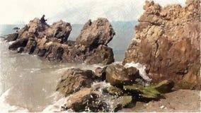 Zeichnende Farbe des Landschaftshintergrundes stock footage