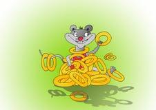Zeichnende frohe Maus Stockfotografie