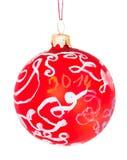 Zeichnende Kinder - dekorativer roter Glasball Stockfotos