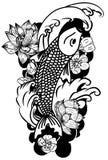 Zeichnende Koi Carp Japanese-Tätowierungsschwarzweiss-art Stockbild
