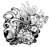 Zeichnende Koi Carp Japanese-Tätowierungsschwarzweiss-art Lizenzfreies Stockbild