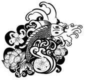 Zeichnende Koi Carp Japanese-Tätowierungsschwarzweiss-art Lizenzfreie Stockfotografie