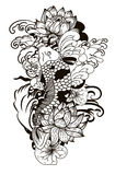 Zeichnende Koi Carp Japanese-Tätowierungsschwarzweiss-art Stockfotos