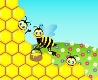 Zeichnende lustige nette Bienen Lizenzfreie Stockbilder