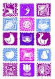 Zeichnende lustige Tiere, Anlagen, Monat, Sonne, Mond, Pilz, Gemüse, Karotten, rote Rüben, Huhn, Gans, Fuchs, Pferd, Apfel, Birne Stockfotografie