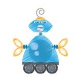 zeichnende mechanische Zukunft der blauen Roboterantennenkommunikation stock abbildung