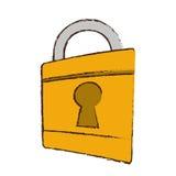 zeichnende Vorhängeschlossverschlusssicherheits-Geldbank Lizenzfreies Stockfoto