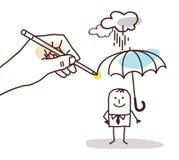 Zeichnender großer hand- Karikatur-Mann mit Regenschirm vektor abbildung