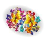 Zeichnender heller Blumenstrauß von Sommerblumen Stockfotografie