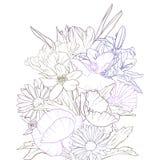 Zeichnender Hintergrund des Vektors mit Blumen stockbilder