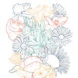 Zeichnender Hintergrund des Vektors mit Blumen lizenzfreie stockfotografie