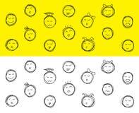 """Zeichnender Satz Karikatur unterschiedliches emotions†""""auf Lager Illustration Lizenzfreies Stockfoto"""
