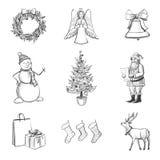 Zeichnender Satz Weihnachtsikonen Stockfoto