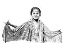 Zeichnendes indonesisches Mädchen Stockfoto