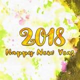 Zeichnendes neues Jahr 2018 mit Bürste Lizenzfreie Stockfotos