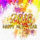 Zeichnendes neues Jahr 2018 mit Bürste Stockfotografie