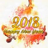 Zeichnendes neues Jahr 2018 mit Bürste Lizenzfreies Stockbild